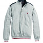 League Cotton Zip Neck Light Grey