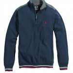 League Cotton Zip Neck Navy
