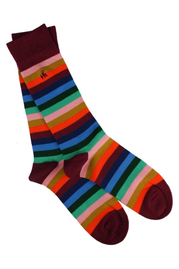 Multi Fine Striped Bamboo Socks